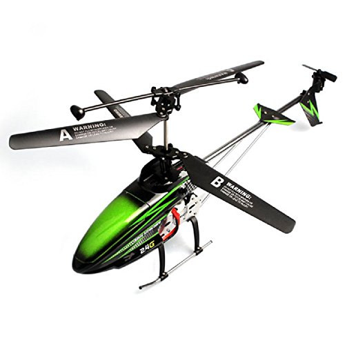 Doinshop New Fashion Green Wltoy 2.4Ghz 3.5Ch Lcd R/C Alloy Metal Large Helicopter Gyro