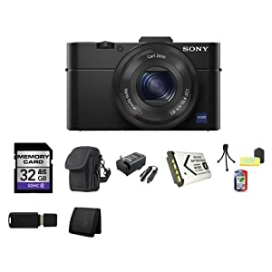 Sony Cyber-shot DSC-RX100 II DSC-RX100M2 20MP Digital Camera + 32GB SDHC Class 10 Memory Card + Carrying Case + External Rapid Charger + NP-BX1 battery + Table Top Tripod, Lens Cleaning Kit, LCD Protector + USB SDHC Reader + Memory Wallet