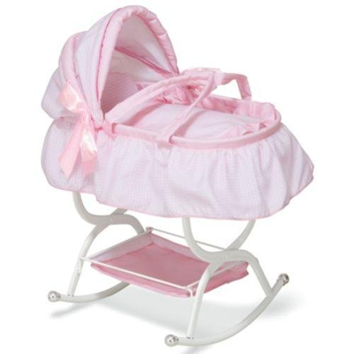 TODDLER GIRLS BABY DOLL CRIB CRADLE BASSINET BABYDOLL ROCKING CANOPY BED - PINK & REALLY ROCKS! American Girl + More