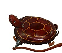 A Turtle Pattern, Handmade Cowhide Wristlet Change/coin Purse, Green,Brown or DarkBrown. (DarkBrown)