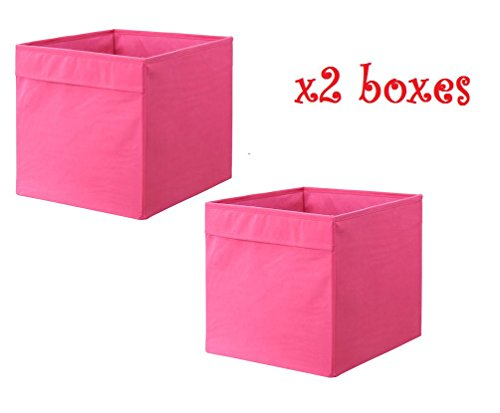 x2-pink-ikea-drona-33x38x33cm-home-office-storage-box-fits-expedit-shelving-unit-set-of-two