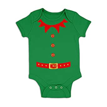 Elf Costume (Red Detail) Baby Grow