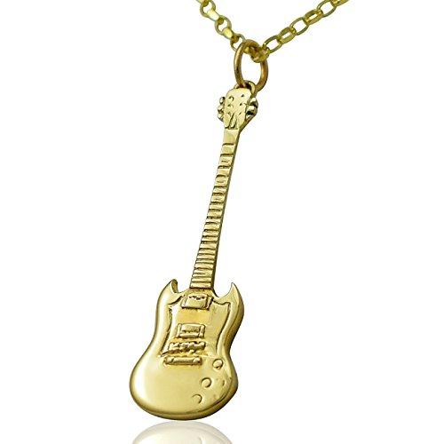 """Gibson in oro massiccio 9 carati con chitarra elettrica SG Set regalo, lunghezza 40,64 cm (16"""") (18 45,72 cm, o solo 50,80 cm (20"""") 0,0 pendente, Oro giallo, colore: giallo, cod. Gold-Gibson-SG-Guitar-Necklace20"""