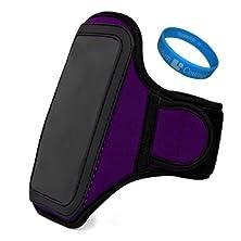 buy Purple Plum Vg Water Resistant Hardcore Neoprene Workout Armband With 2 Piece Adjustable Velcro Strap For Motorola Droid Razr M Smartphone + Sumaclife Tm Wisdom Courage Wristband