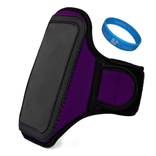 Purple Plum Vg Water Resistant Hardcore Neoprene Workout Armband With 2 Piece Adjustable Velcro Strap For Htc Windows Phone 8X 4.3-Inch Smartphone + Sumaclife Tm Wisdom Courage Wristband