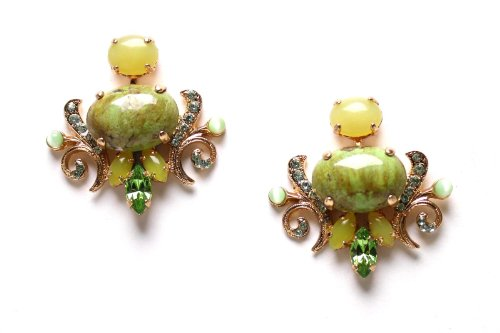 Expressive Earrings from 'Green Serenity' 2013 Collection by Israeli Amaro Jewelry Studio Crafted with Lovely Details, Green Aventurine, Variscite, Lime Chrysophase, Yellow Turquoise, Olive Jade and Swarovski Crystals; 24K Rose Gold Plated