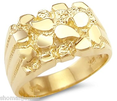 size 8 solid 14k yellow gold heavy mens nugget