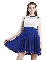 Peptrends Women's Skater Dress (DR150110BL, Blue and white, X-Small)