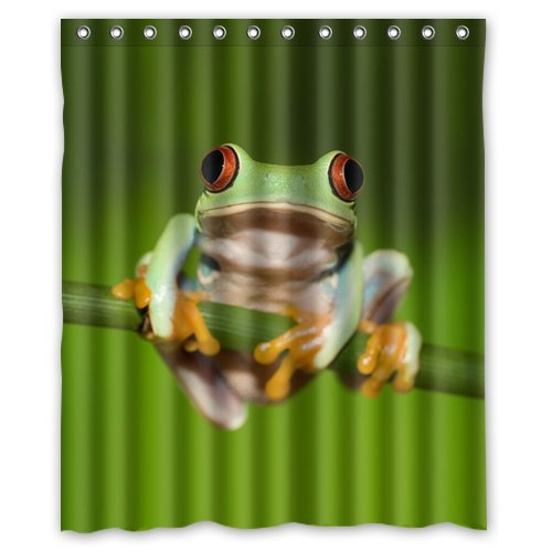 Custom Unique Design Funny Cute Tree Frog Waterproof Fabric Shower Curtain, 72 By 60-Inch front-271982