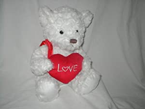 """White Plush 12 Inches Teddy Bear with Heart with """"Love"""" in White Lettering"""