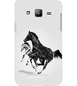 PrintDhaba HORSE ART D-6367 Back Case Cover for SAMSUNG GALAXY J2 (Multi-Coloured)