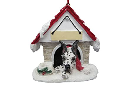 """Harlequin Dane Ornament A Great Gift For Harlequin Dane Owners Hand Painted and Easily Personalized """"Doghouse Ornament"""" With Magnetic Back"""