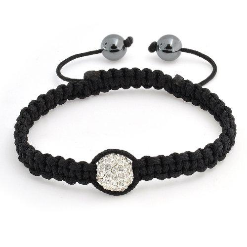Bling Jewelry Unisex White Swarovski Crystal Bead Hematite Macrame Bracelet 12mm