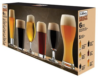 libbey craft brew sampler clear beer glass set 6 piece