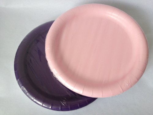Purple & Pink Paper Party Plates 8.75 in - (40) Plates! - 1