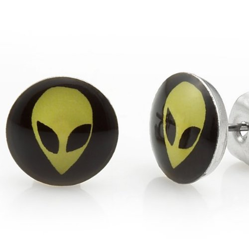 Mens Stainless Steel We Are Not Alone Aliens Stud Earrings (Black Yellow) Free Shipping
