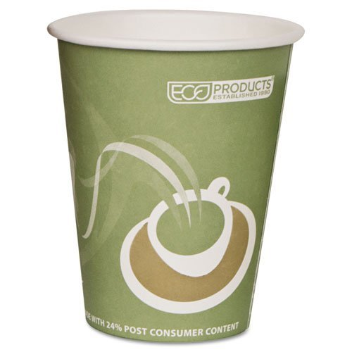 Eco-Products, Inc. EPBRHC12EW Evolution World 24% PCF Hot Drink Cups, Sea Green, 12oz, 1000/Carton by Eco-Products, Inc