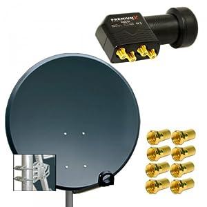 PremiumX Digital SAT Anlage 100 cm ALU Schüssel Spiegel Antenne Antrazith + PremiumX Quad LNB PXQS-04 0,1dB für 4 Teilnehmer + 8 F-Stecker 7mm vergoldet