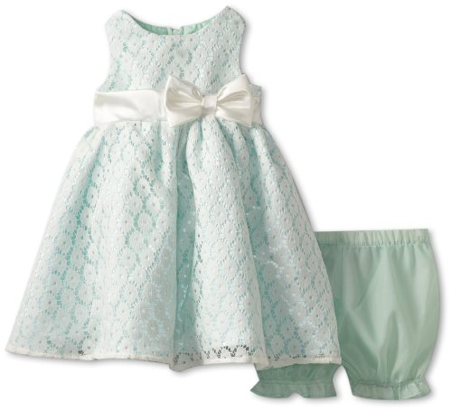 Nannette Baby Girls Newborn 2 Piece Woven Dress With Bow