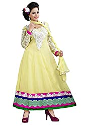 7 Colors Lifestyle Women Georgette Salwar Suit Dress Material (Aakdr1011Nzkt _Lemon Yellow _Free Size)