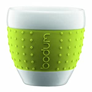 Bodum 8-Ounce Pavina Porcelain Cups with Silicone Grip, Green, Set of 2