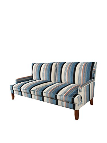 Evergreen Striped Sofa, Blue/Cream/White/Black