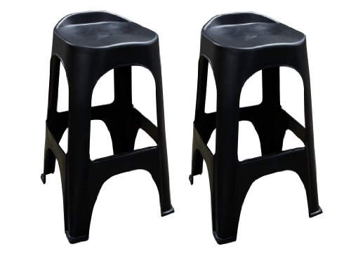 Adams Manufacturing 8350-02-3702 Real Comfort 2-Pack Bar Stool, 30-Inch, Black front-863767