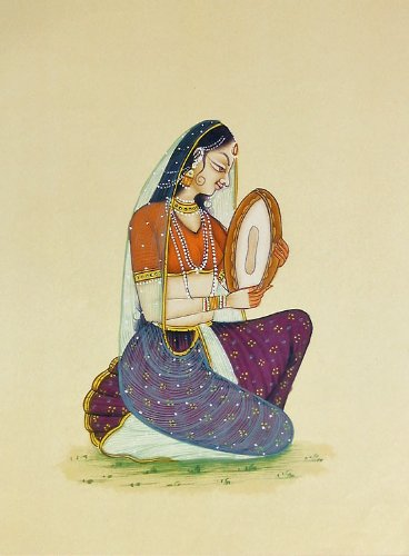 "Dolls Of India ""Ragini Playing Dafli"" Reprint On Paper - Unframed (29.21 X 20.32 Centimeters)"