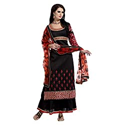 Yes Fashions Women's Party wear Black Art Silk+Sleeves Georgette Semi Stitched Salwar Suit