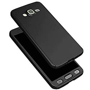 IDEAL Protective Slim Fit Case 360 All-Round Hybrid Body Cover with Tempered Glass for Samsung Galaxy A510 (Black)