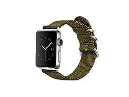 Monowear Green Nylon Apple Watch Band with Easy Slide in Silver Polished Elegant Adaptor for 42mm Screen Apple Watch
