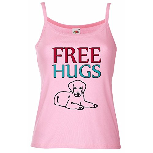 Divertente 058, Free Hugs, Rosa Pastello Fruit of the Loom Women Strap Tee Cotone Top e Canotte Spalline Donna con Design Colorato. Taglia M.