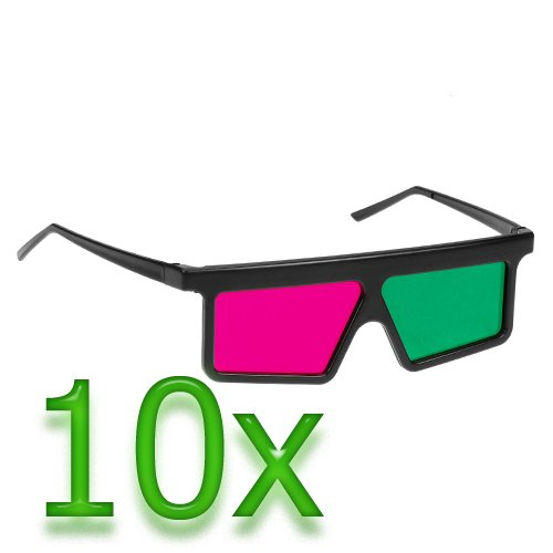 Birugear 10 Pairs 3D Magenta/Green Glasses - Flat Square