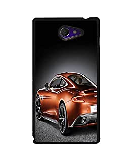 Fuson Premium Orange Sports Car Metal Printed with Hard Plastic Back Case Cover for Sony Xperia M2 Dual