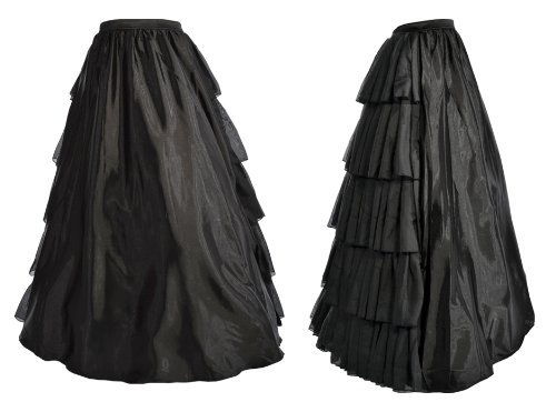 CK002 - Long black satin skirt with pleated rear - XL