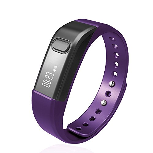 Fitness Tracker Smart Bracelet, Vcall Waterproof Bluetooth Smart Band Wristband Activity Tracker with Sports Pedometer Health Tracker and Sleep Monitor(Purple)