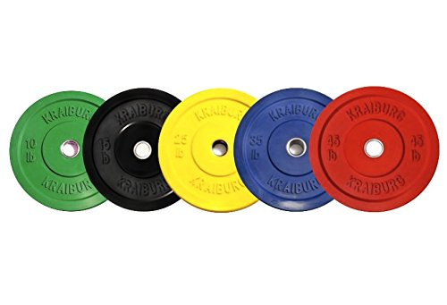 Kraiburg 260 lb Premium Color Weight Set Olympic Rubber Bumper Plates for Crossfit Powerlifting (Eleiko Bumper Plates compare prices)