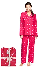 Pure Cotton Revere Collar Star Print Pyjamas
