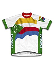 Comoros Flag Short Sleeve Cycling Jersey for Women