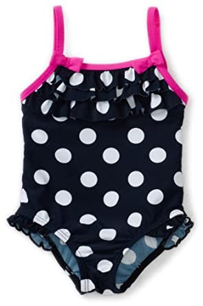 Carter's Baby-girls Infant 1 Piece Polka Dot Swimsuit, Navy, 12 Months