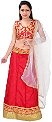 Shree Mira Impex Women's Georgette Lehenga Choli (Red)