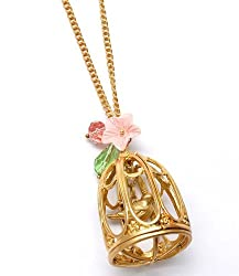 Golden Bird in a Little Bird Cage Birdcage Necklace