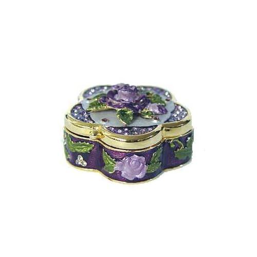 Purple 3 Dimensional Lavender Rose Box Swarovski Crystal 24K Gold Jewelry Kee