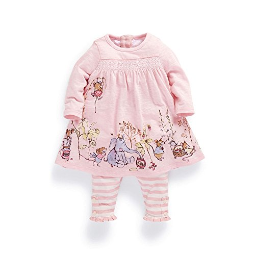 Ferenyi Baby Girls Summer Clothres Cartoon Long-sleeved Dress With Pants Sets (4-10 months, Pink)