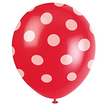 6 Count Red Polka Dot Latex Balloons, 12-Inch