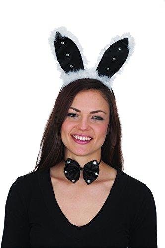 Jacobson Hat Company Women's Adult Black Satin Bunny Ears and Bowtie