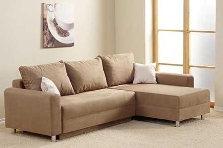 Ecksofa in hellbraun-grau-taupe, Schlaffunktion, Bettkasten und 2 Zierkissen in hellbraun, Schenkelmaß: 235 x 155 cm
