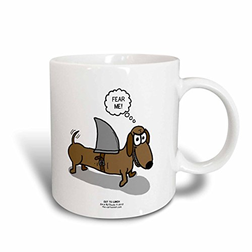 3dRose Weiner Dog with a Sharks Fin Ceramic Mug, 15 oz, White (Weiner Dog Picture compare prices)