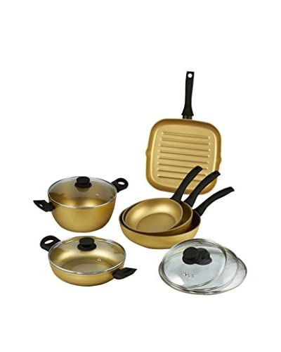 StoneGold By Bisetti 11-Piece Cookware Set with Black Handles and Glass Covers