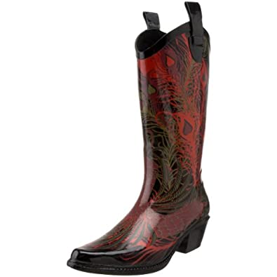 dav Women's Western Cowboy Phoenix Boot,Black,6 M US